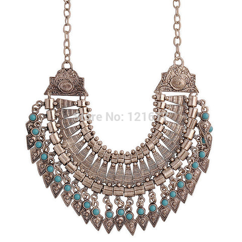 Tribal Bellydance Silver and Turquoise Collar Necklace