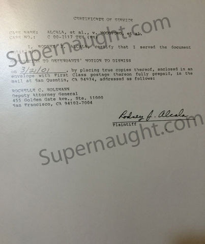 Rodney Alcala Certificate of Service Document Signed - Supernaught True Crime Collectibles