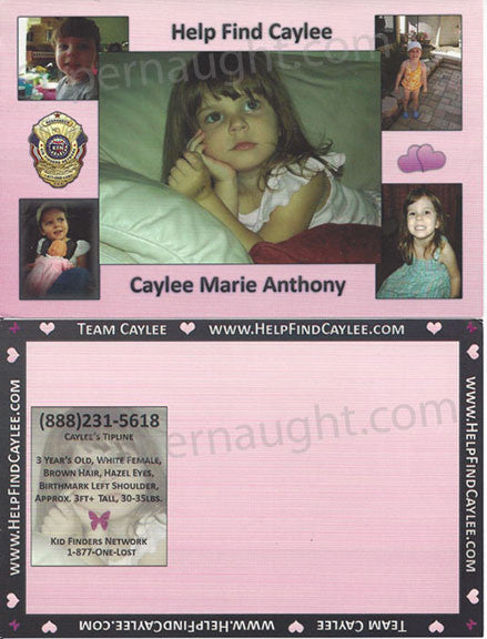 Caylee Anthony Missing Child Postcard Orlando Florida