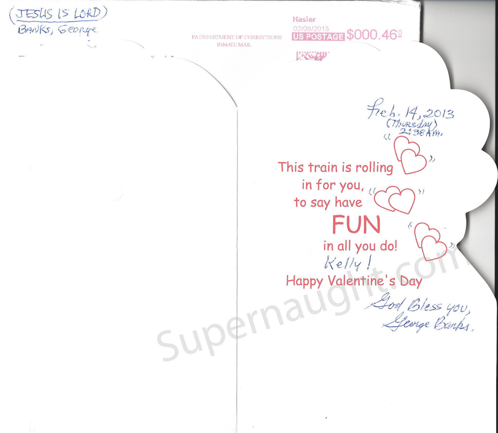 George Banks Valentine's Card and Envelope Set Both Signed - Supernaught True Crime Collectibles
