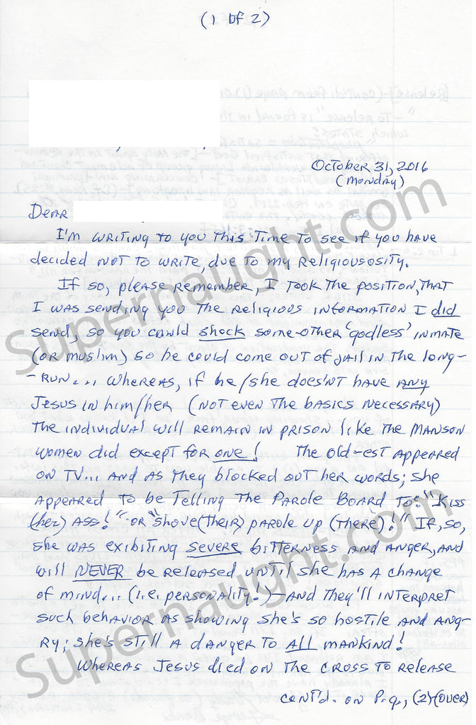 George Email Banks Two Page Signed Prison Letter