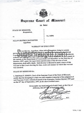 Alan Jeffrey AJ Bannister copy missouri execution warrant
