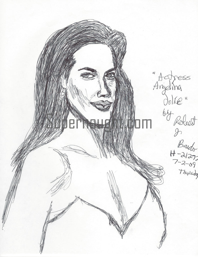 Robert Bardo Angelina Jolie Drawing Signed