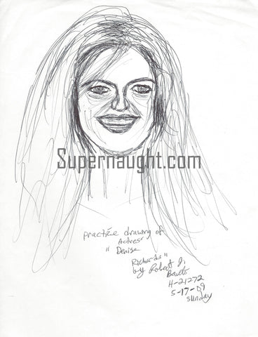Robert Bardo Denise Richards Drawing Signed