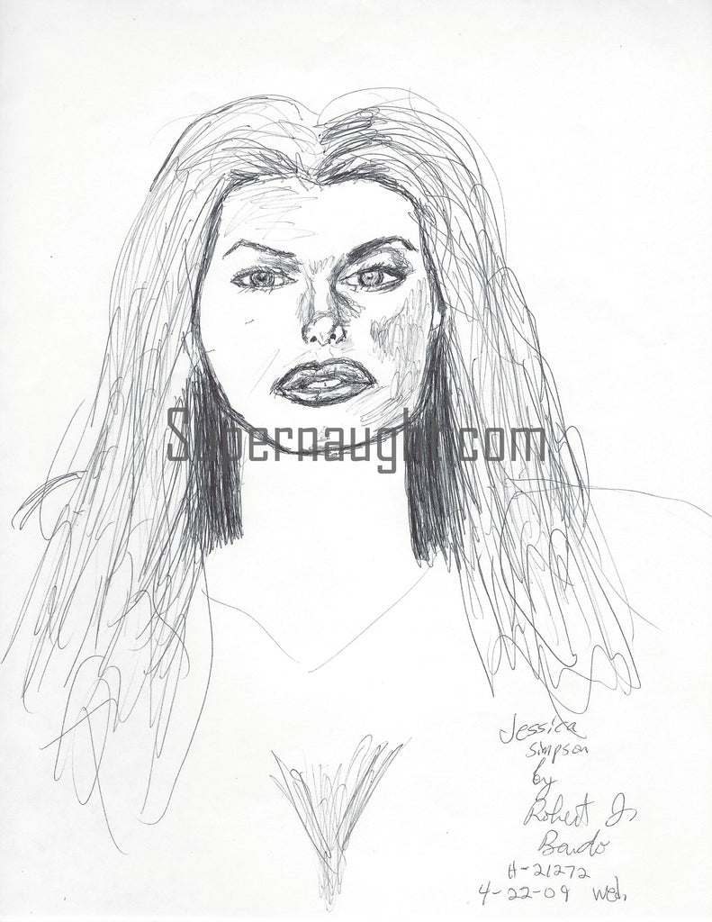 Robert Bardo Jessica Simpson Drawing Signed