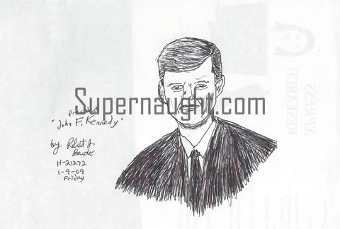 Robert Bardo John F Kennedy Drawing Signed