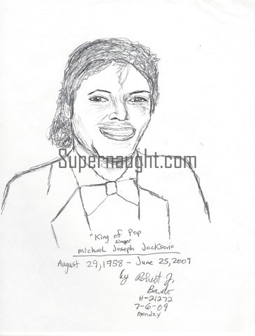 Robert Bardo Michael Jackson Drawing Signed