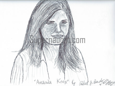 Robert Bardo Amanda Knox Signed Drawing