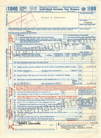 Herbert Baumeister 1040 Tax Return Signed