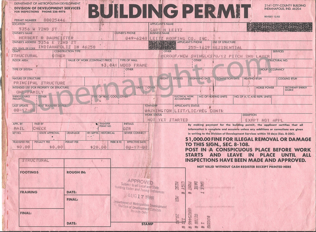 Herbert Baumeister Original 1988 Building Permit - Supernaught True Crime Collectibles - 1