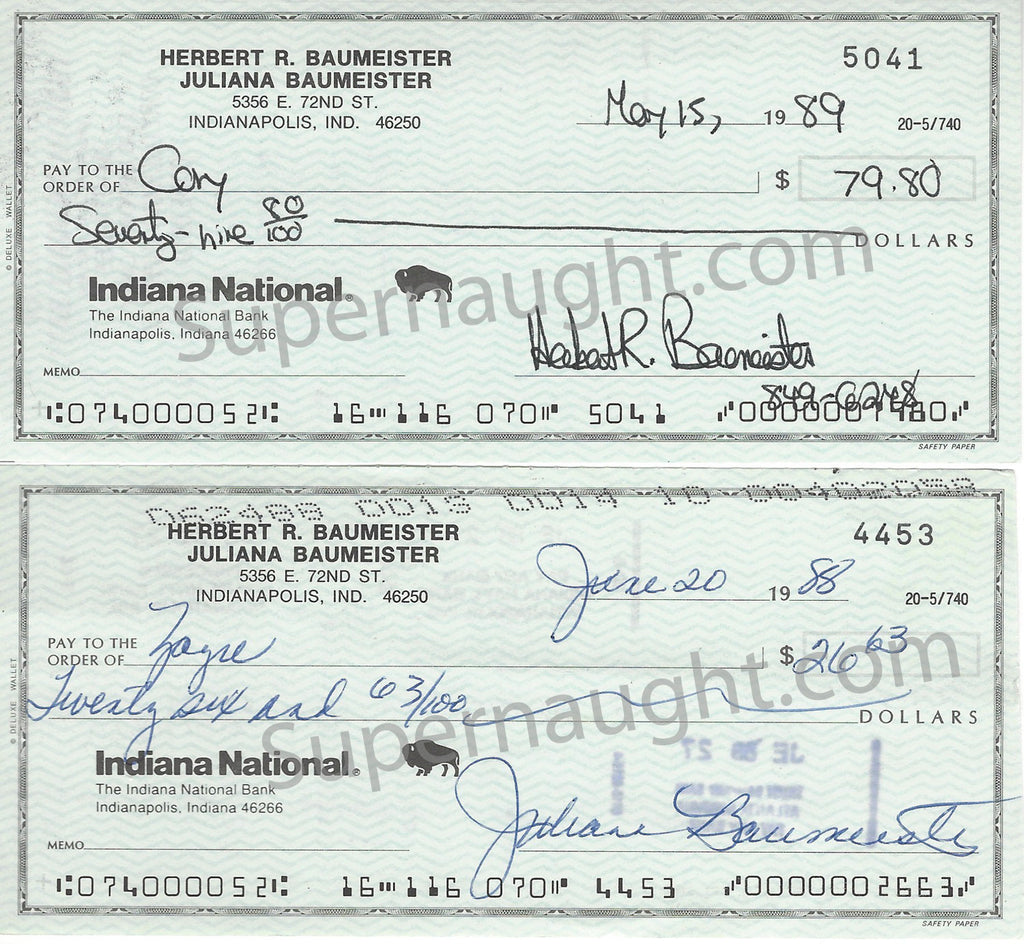 Herbert and Julie Baumeister Set of Two Signed Checks