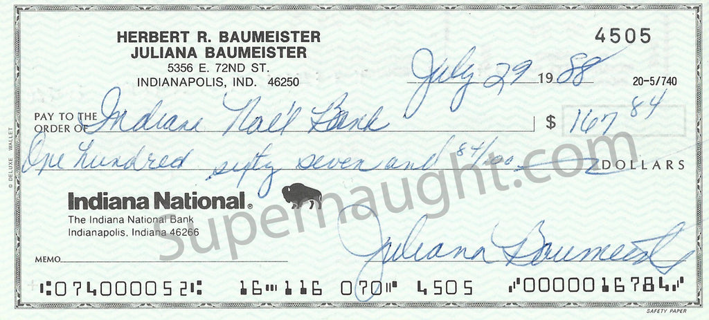 Herbert Baumeister Check Signed by his Wife Julie - Supernaught True Crime Collectibles - 1