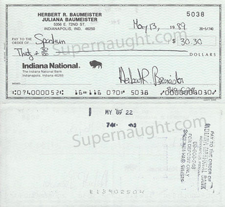 Herbert Baumeister Indiana National check signed - Supernaught True Crime Collectibles