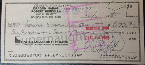 Robert Berdella Signed Business Check Autograph Bob's Bazaar