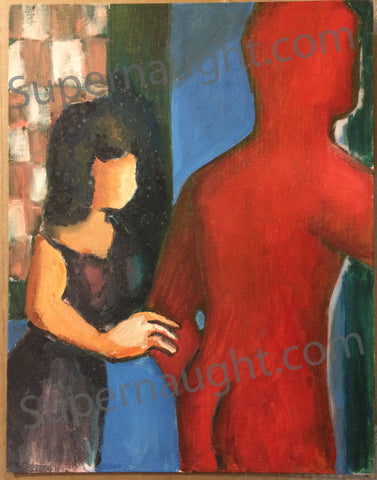 Robert Berdella Original Woman And Red Man Painting