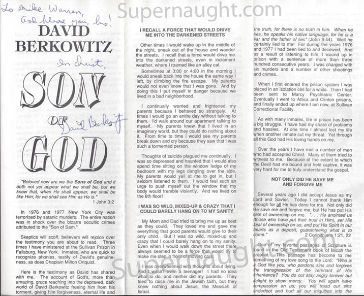 David Berkowitz Son of God Signed Pamphlet - Supernaught True Crime Collectibles - 1