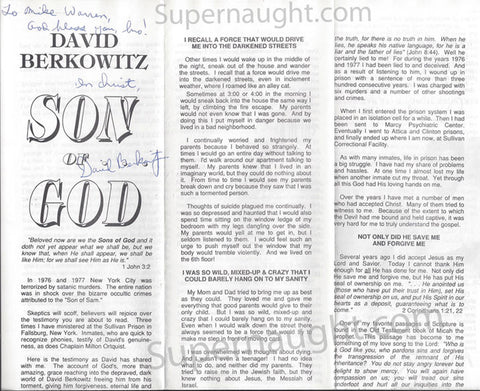 David Berkowitz Son of God signed prison booklet