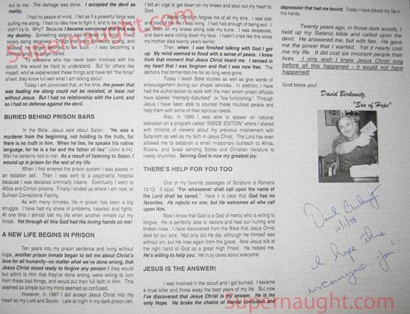 David Berkowitz religious pamphlet signed and dated - Supernaught True Crime Collectibles