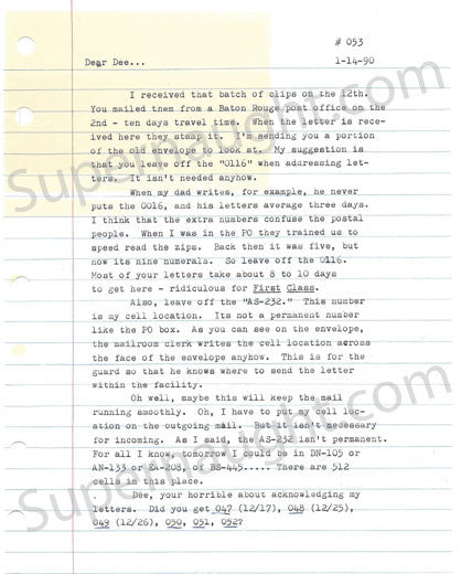 David Berkowitz 4 page letter and envelope set