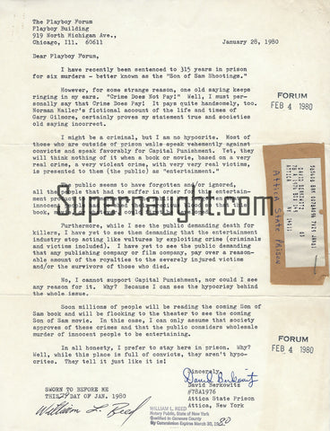 David Berkowitz Playboy Magazine Letter