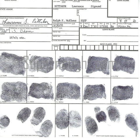 Lawrence Bittaker Fingerprint Chart