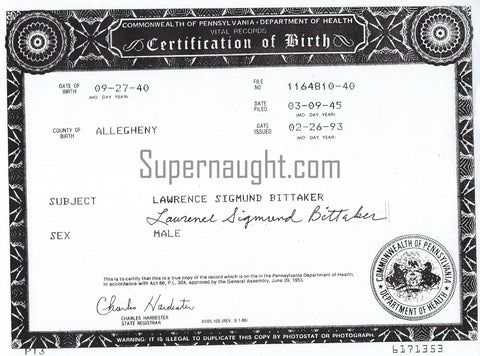Lawrence Bittaker Signed Birth Certificate