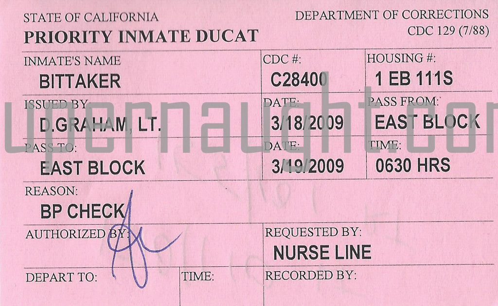 Lawrence Bittaker Inmate Ducat Medical Pass
