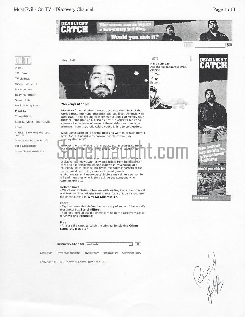 Lawrence Bittaker Most Evil Charles Manson Signed