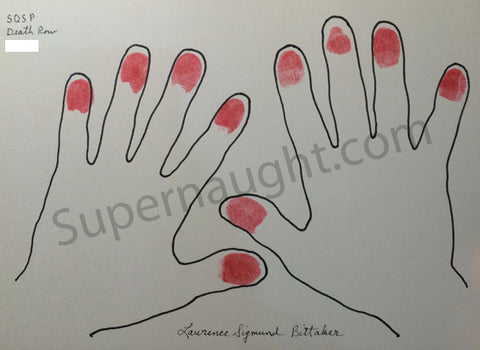 Lawrence Bittaker Hand Tracings with Blood Red Finger Prints Signed in Full - Supernaught True Crime Collectibles