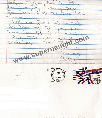 Terry Blair county jail letter signed with envelope - Supernaught True Crime Collectibles