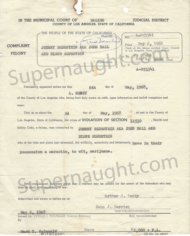 Manson Family Johnny Bluestein Diane Lake 1968 felony complaint - Supernaught True Crime Collectibles - 1