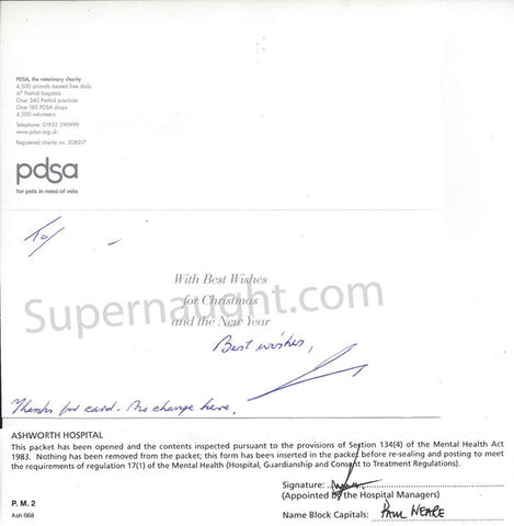 Ian Stewart Brady signed Christmas card hospital approval notice