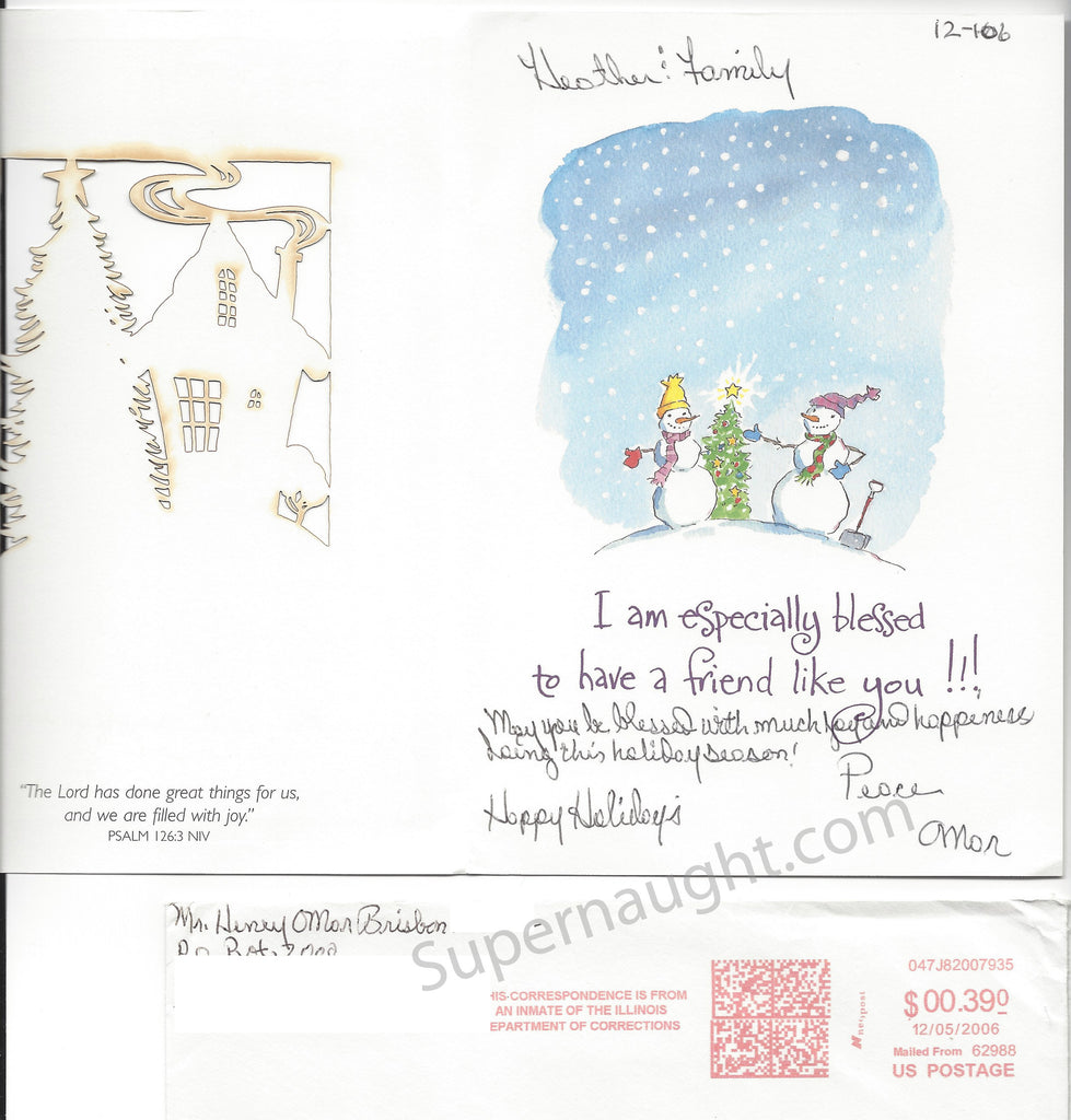 Henry Brisbon Christmas Card and Envelope Set Both Signed