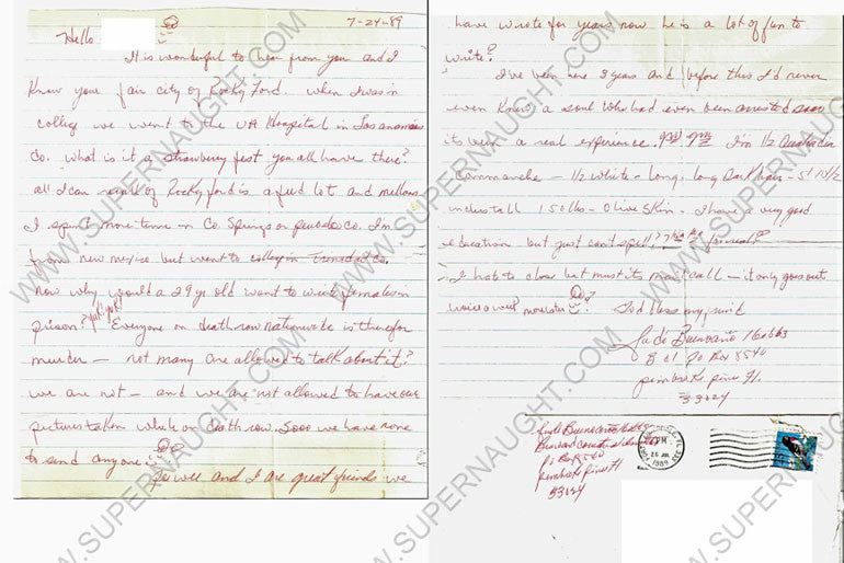 Judias Buenoano two page letter and envelope both signed - Supernaught True Crime Collectibles