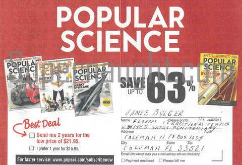 James Whitey Bulger Popular Science Card