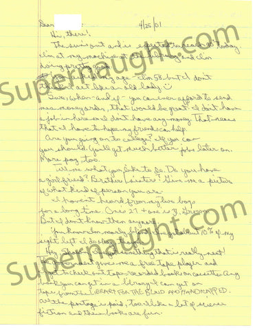 Carol Bundy 2001 letter and envelope set both signed - Supernaught True Crime Collectibles - 1