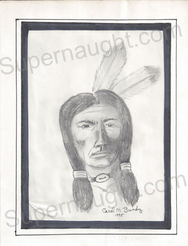 Carol Bundy Indian Warrior Drawing Signed Twice - Supernaught True Crime Collectibles - 1