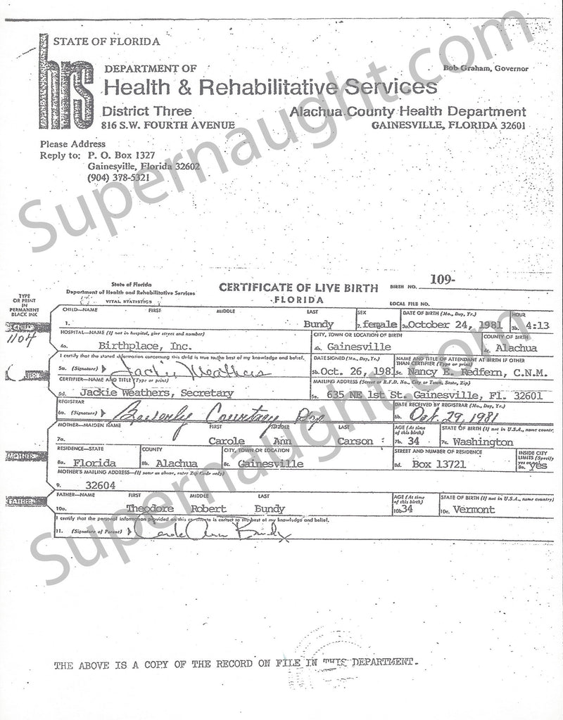 Ted Bundy Copy Of His Daughters Birth Certificate