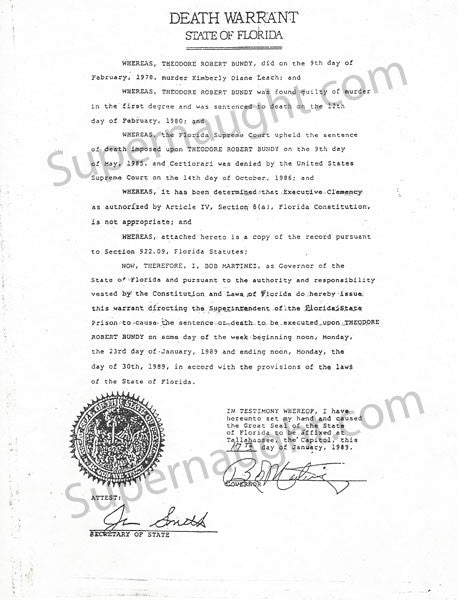 Ted Bundy Death Warrant Copy January 1989 - Supernaught True Crime Collectibles