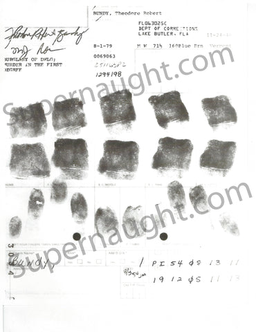 Ted Bundy Replica Fingerprint Chart