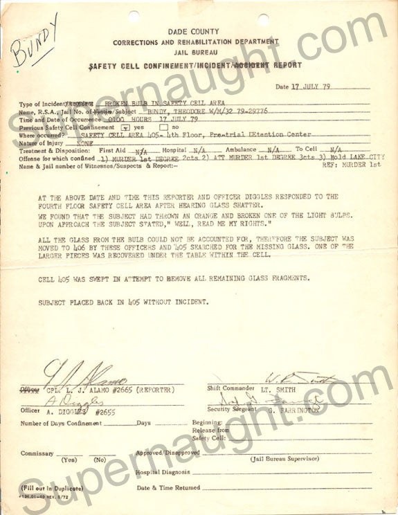 Ted Bundy 1979 Smashed Lightbulb Incident Report