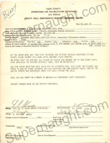 Ted Bundy July 1979 smashed lightbulb county jail incident report - Supernaught True Crime Collectibles