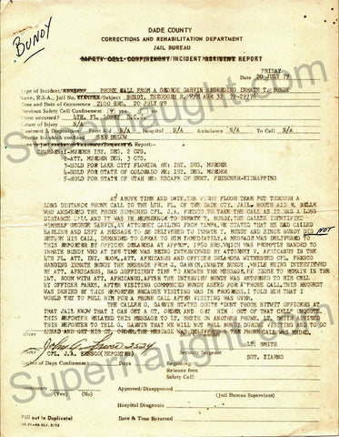 Ted Bundy 1979 county jail phone incident report - Supernaught True Crime Collectibles