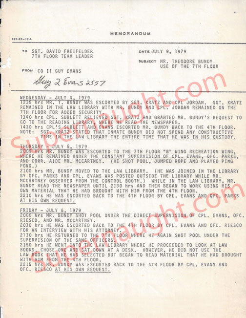 Ted Bundy July 1979 Daily Activities Memo - Supernaught True Crime Collectibles