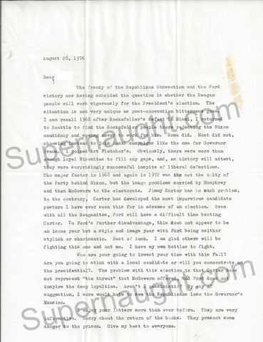 Ted Bundy August 1976 Utah letter signed Ted with envelope - Supernaught True Crime Collectibles - 1