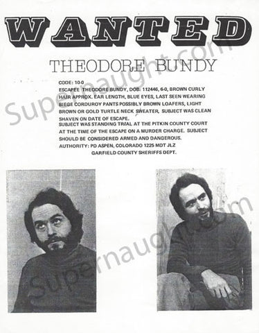 Ted Bundy Colorado Replica Wanted Poster