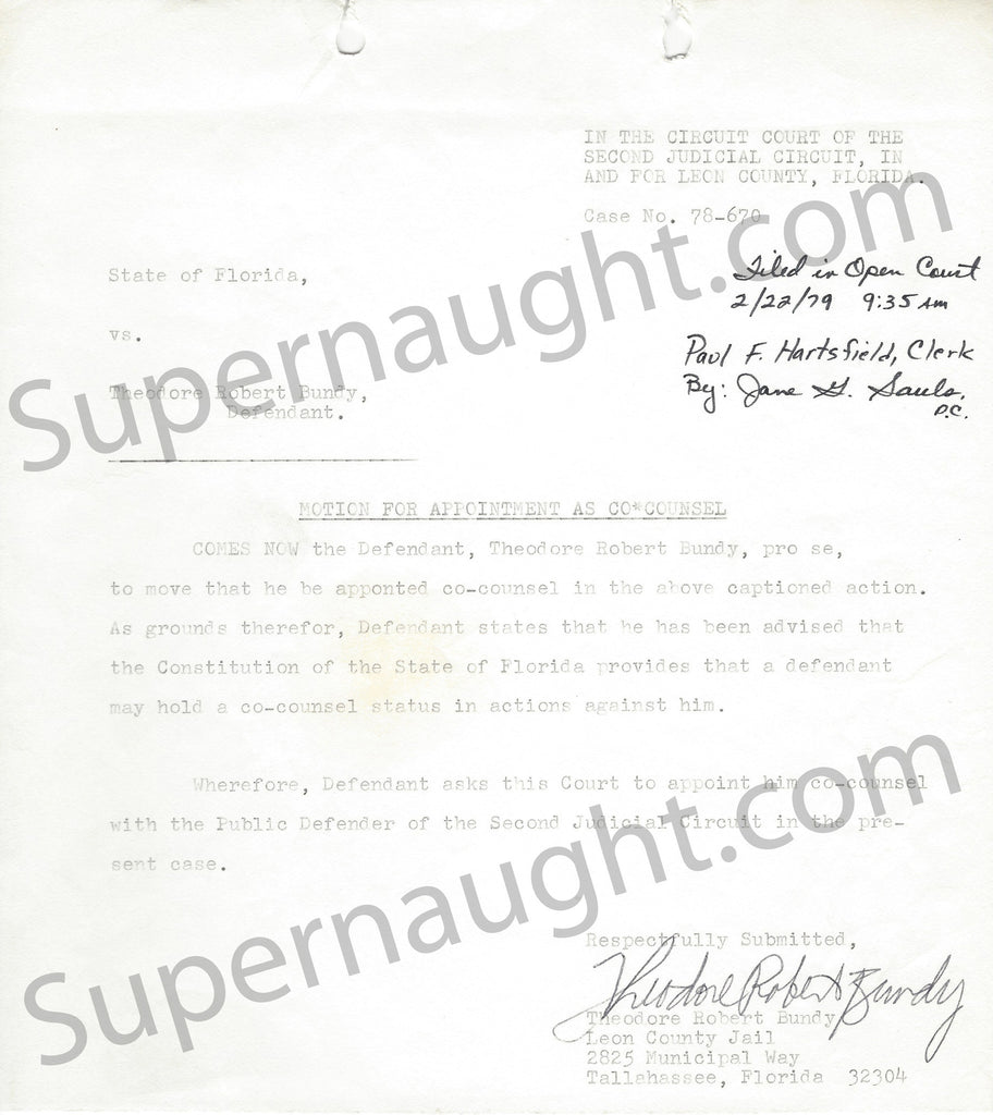 Ted Bundy signed legal document serial killer murderabilia