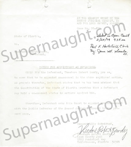 Ted Bundy 1979 Motion for Appointment As Counsel Document Signed in Full - Supernaught True Crime Collectibles - 1
