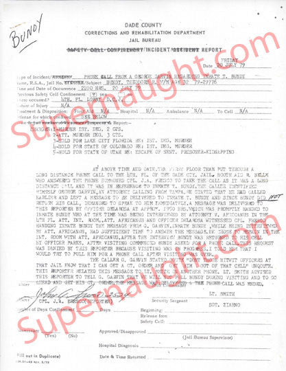 Ted Bundy Dade County July 1979 Jail Incident Report Copy - Supernaught True Crime Collectibles