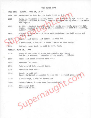 Ted Bundy County Jail 1979 Daily Activities Log - Supernaught True Crime Collectibles